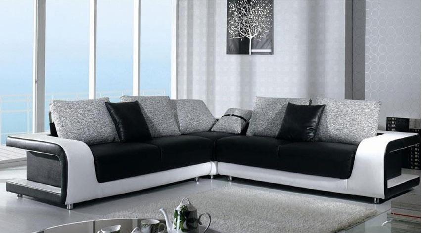 Γωνιακός Καναπές Black and White
